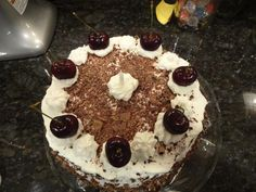 Delicious Black Forest Cake. Recipe here: http://allrecipes.com/recipe/8095/black-forest-cake-i/