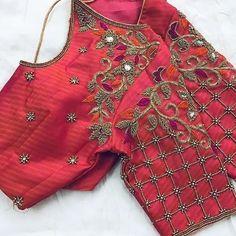 No photo description available. Cutwork Blouse Designs, Wedding Saree Blouse Designs, Pattu Saree Blouse Designs, Simple Blouse Designs, Sari Design, Designer Blouse Patterns, Designer Dresses, Instagram, Embroidered Blouse