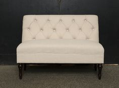 A Bash classic. Neutral linen tufted loveseat with carved wood legs. Matches our Adaline Chairs. Love Seat, Neutral, Lounge, Carving, Couch, Chair, Wood, Classic, Furniture