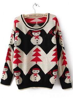 Black Long Sleeve Snowman Print Christmas Sweater US$18.03