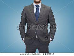 gray suit, blue tie