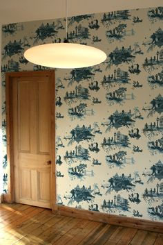 London Toile Wallpaper by Timorous Beasties (in three colors: pink, green, blue) Interior Design Advice, Decor Interior Design, Interior Decorating, Decorating Your Home, Diy Home Decor, Toile Wallpaper, Timorous Beasties, Old Wall, Shabby Chic Bedrooms