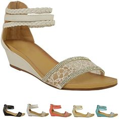 71b7545e614 Fashion Thirsty Womens Summer Sandals Low Heels Wedge Ankle Strappy Lace  Diamante Size 10 Fashion Thirsty