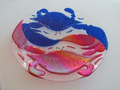 "fused glass, ying yang, crab dance, large 16"" bowl, metallic, dichroic, marksonglass.net"