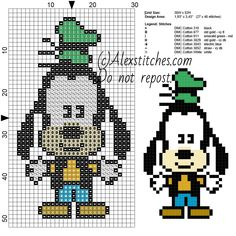 Goofy Disney Cuties free cross stitch pattern 30x52 7 colors
