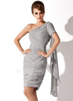 Cocktail Dresses - $139.99 - Sheath/Column One-Shoulder Knee-Length Chiffon Cocktail Dress With Ruffle Beading (020036585) http://jjshouse.com/Sheath-Column-One-Shoulder-Knee-Length-Chiffon-Cocktail-Dress-With-Ruffle-Beading-020036585-g36585