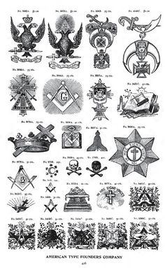 A page out of an old catalog from a printing company, showing designs associated with various Freemasonry body and related groups:
