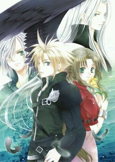 Kadaj, Sephiroth, Cloud Strife and Aerith Gainsborough. Fan art. Final Fantasy VII: Advent Children.