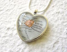 World Traveler Heart Shaped Map Necklace  by TheGreenDaisyShop