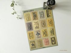 NEW Water-activated England Vintage Style Match Label - One tone Vintage Style, Vintage Fashion, Art Supplies, Ephemera, Flask, Label, England, Unique Jewelry, Studio