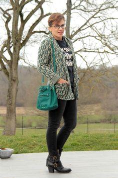 green dreyfuss bag + funky blazer + rock t-shirt