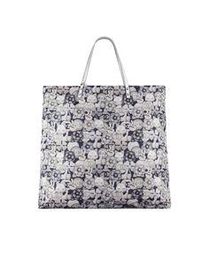 Small shopping bag, printed fabric & silver metal-navy blue, gray & silver - CHANEL