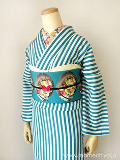 Turquoise striped Kimono, floral Obi&Haneri