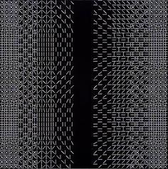 "blastedheath: ""Matti Kujasalo (Finnish, b. Mustavalkoinen sommitelma [Black and white composition], Oil on canvas laid on board, 152 x 152 cm. Futuristic Art, Computer Art, Bukowski, Graphic Design Typography, Textile Patterns, Black Backgrounds, Pixel Art, Oil On Canvas, Pattern Design"