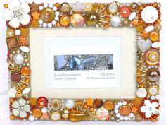 Bilderrahmen orange weiß gold Wohn Dekor mit Broschen von LonasART