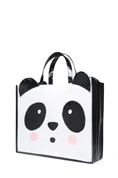 01133add2ed A glossy woven eco tote featuring a large panda face graphic with  protruding ears and shoulder