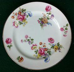 """Vintage Noritake (M) """"Made in Japan"""" Roses & Multifloral Salad Plate ca 1930's"""