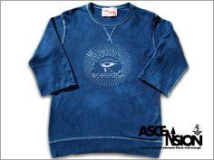 """ASCENSION(アセンション)【JAPAN BLUE 七分Sweat """" Horus(ホルス)""""】(藍染・インディゴ染め・メンズ(mens)・レディース(ladys)・autumn(オータム・秋冬)・Tシャツ(T-shirt)・タイダイ・TIE-DYE(tie dye)・アウトドア(outdoor))【楽天市場】"""