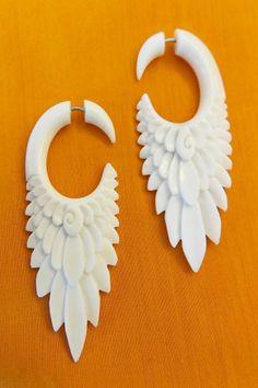 Romantic Feather Tribal Fake Gauge Earring White Bone Yoga Beach Wedding Jewelry #DropDangle