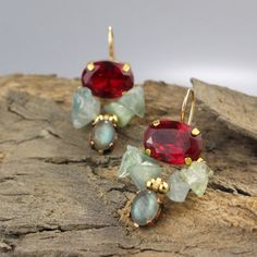 1d95542d4 Ruby Jewelry, Handmade Butterfly Earrings, July Birthstone, Ruby Earrings,  Aquamarine and Ruby Cubic Zirconia Earrings, Colorful Jewelry