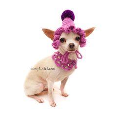 Purple Dog Bandanna Crochet, Purple Dog Hat Crochet with Dog Shawl Crochet DN25 by Myknitt
