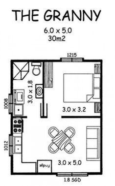 Tiny House Blueprint - granny pod no loft Building A Tiny House, Small House Plans, House Floor Plans, Tyni House, Tiny House Living, Casa Bunker, Granny Pod, House Blueprints, Tiny Spaces