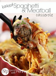 Baked Spaghetti & Meatball Casserole!  Easy and so delicious!