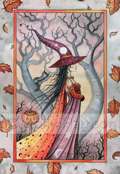 Wiccan Autumn Witch Fine Art Print by Molly Harrison 'Mystic Witch' 9 x 12 Giclee Halloween Artwork, Halloween Painting, Halloween Pictures, Halloween Signs, Fantasy Witch, Witch Art, Autumn Witch, The Good Witch, Beautiful Fantasy Art