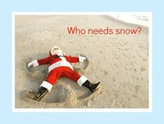 santa is making a sand angel at the beach via fb https - Beach Christmas Pictures