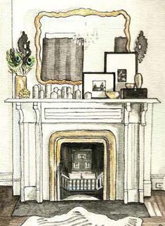 """From her new book """"Elements of Style"""", designer Erin Gates shares eight creative ways to display art and includes her practical approach to styling a home. Fireplace Wall, Living Room With Fireplace, Fireplace Ideas, Fireplace Mantels, Fireplaces, Living Rooms, Interior Design Business, Interior Sketch, Boston Interiors"""