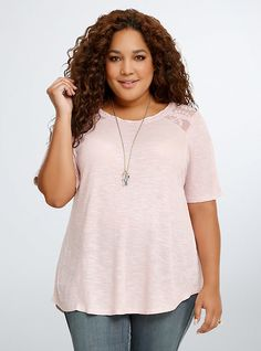 Lace Inset Ribbed Tee, PINK DUST