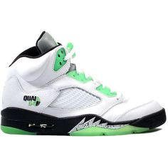 55bf3b8b5870 Kixclusive - Air Jordan 5 Retro Quai54 White   Green   Black ( 550) ❤ liked  on Polyvore featuring shoes