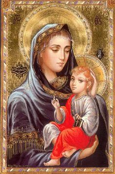 The loving hand behind The Child's head is what is so appealing about this icon.