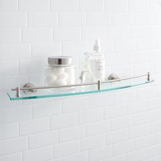 44 Perfect Glass Shelves Ideas For Bathroom Design. Putting up bottom of glass shelving is quite common to ask in many homes as well as offices around the world today. The glass that you install may b. Glass Shelves In Bathroom, Floating Glass Shelves, Tempered Glass Shelves, Shower Shelves, Bathroom Fixtures, Bathrooms, Bathroom Showers, Perfect Glass, Pedestal Sink