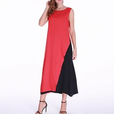 Gracila Contrast Color Patchwork Sleeveless Women Dresses