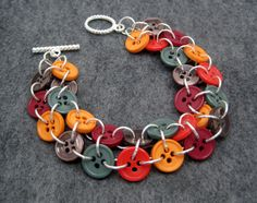 Button Bracelet - Fall Autumn (red, orange, brown) by randomcreative on Etsy