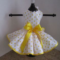 White With Yellow Polka Dots Dog Dress