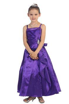 Fuchsia Brillinat Satin Ruffle Detail A-line Jr. Bridesmaid Dress with Sparkles Junior Bridesmaid Dresses, Pageant Dresses, Line Flower, Satin Material, Lilac Color, Birthday Dresses, Coat Dress, Fall Dresses, Dress Patterns