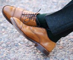 My first high quality pair of dress shoes (and still a favorite) the Allen Edmonds Park Avenue in walnut - pair nicely with forest green socks and olive green donegal tweed trousers. Would you wear it?