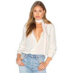 L'Academie x REVOLVE The Silk Blouse ($230) ❤ liked on Polyvore featuring tops, blouses, silk top, white silk blouse, button front blouse, silk blouse and white top