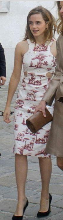 Who made  Emma Watson's white print cut out dress?