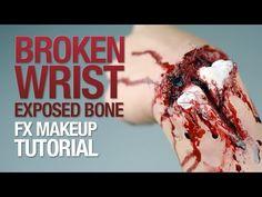 Broken wrist exposed bone fx makeup tutorial - YouTube