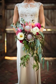 Cascading king protea and eucalyptus bouquet