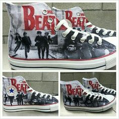 5757b3949e04 Arkham Prints provides a brand new custom pair of The Beatles Converse All  Stars. These Shoes are printed with a High Quality Direct to Garment  printer!