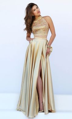 Gold Beading Prom Dress,Sexy Halter Evening Dress,Two Pieces Party Dress,Split at lower part of dress