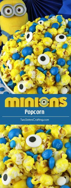 Minions Popcorn - sweet and salty popcorn mixed with M&M Candy and googly monster eyes will be a big hit with your family. It is both fun and delicious, a great combination! A fun anytime snack that would also be a great Party food at a Minions Birthday Birthday Party Snacks, Birthday Movie, Minion Birthday, Snacks Für Party, Cake Birthday, Party Appetizers, Birthday Kids, Party Drinks, Party Desserts