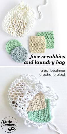 Easy crochet pattern for face scrubbiest / makeup remover pads. Great beginner project. Practice working in the round and filet crochet techniques.