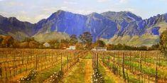 Oil Painting - Winter Vineyard by Errol Norbury South African Artists, Worcester, Art Portfolio, Vineyard, Oil, Landscape, Winter, Painting, Outdoor