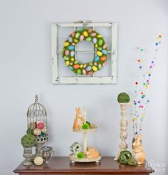 cheerful spring wreath and tree, crafts, diy, easter decorations, home decor, wreaths