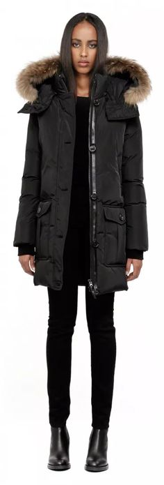 Mackage - CHASKA-F4 LONG BLACK DOWN PARKA COAT FOR WOMEN WITH REMOVABLE FUR HOOD